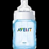 """בקבוק האכלה קלאסיק כחול ללא בספינול 260 מ""""ל +Avent 1M"""