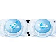 זוג מוצצים אולטרה סופט כחול Avent 6-18m